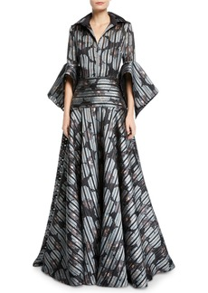 Badgley Mischka Striped Floral Shirtdress Gown