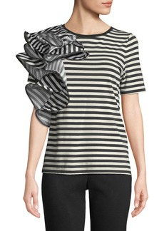Badgley Mischka Striped Ruffle-Trim Short-Sleeve Tee