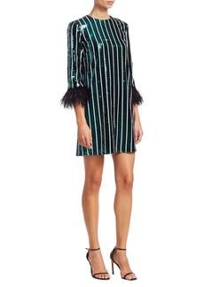 Badgley Mischka Striped Sequin Feather-Cuff Shift Dress
