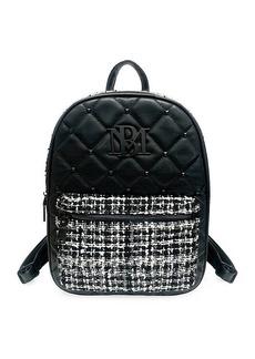 Badgley Mischka Studded Tweed-Pocket Backpack