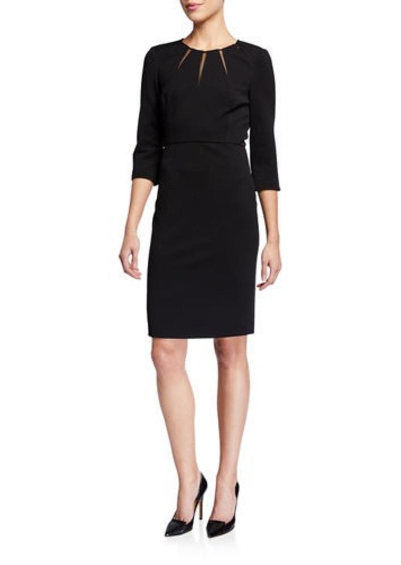 Badgley Mischka Sunburst 3/4-Sleeve Sheath Dress
