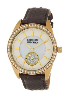 Badgley Mischka Women's Swarovski Crystal Genuine Snakeskin Strap Watch, 40mm