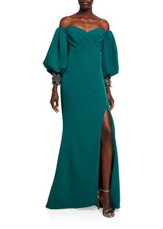Badgley Mischka Sweetheart Balloon-Sleeve Crepe Gown with Beaded Cuffs