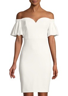 Badgley Mischka Sweetheart Off-The-Shoulder Sheath Dress