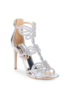 Badgley Mischka Teri Embellished Leather Stiletto Sandals