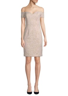 Badgley Mischka Textured Off-The-Shoulder Sweetheart Dress
