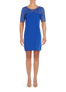 Badgley Mischka Tia Illusion Neck Dress