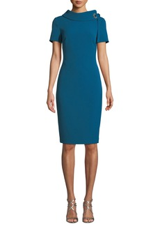 Badgley Mischka Tie-Neck Short-Sleeve Sheath Dress