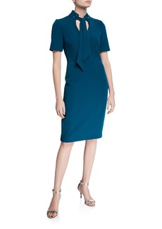 Badgley Mischka Tie-Neck Short-Sleeve Sheath Dress w/ Mandarin Collar