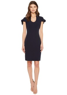 Badgley Mischka Tie Sleeve U-Neck Butter Crepe Dress
