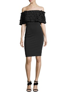 Badgley Mischka Tiered Petal-Popover Short-Sleeve Sheath Dress