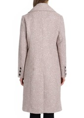 Badgley Mischka Two-Button Notched-Collar Boucle Mid-Length Coat