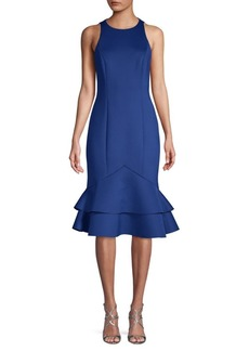 Badgley Mischka Two-Tier Ruffled Sheath Dress