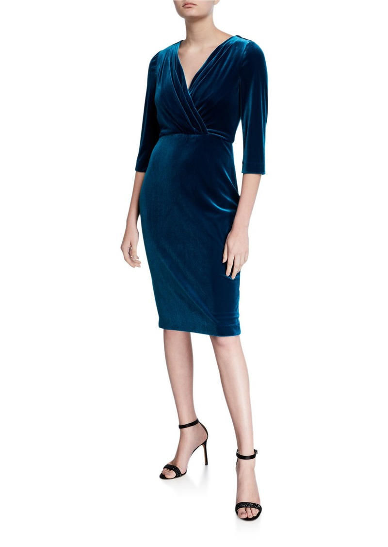 Badgley Mischka V-Neck 1/2-Sleeve Velvet Cocktail Dress