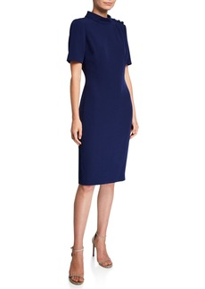 Badgley Mischka Mock-Neck Short Sleeve Butter Crepe Dress with Button Detailing