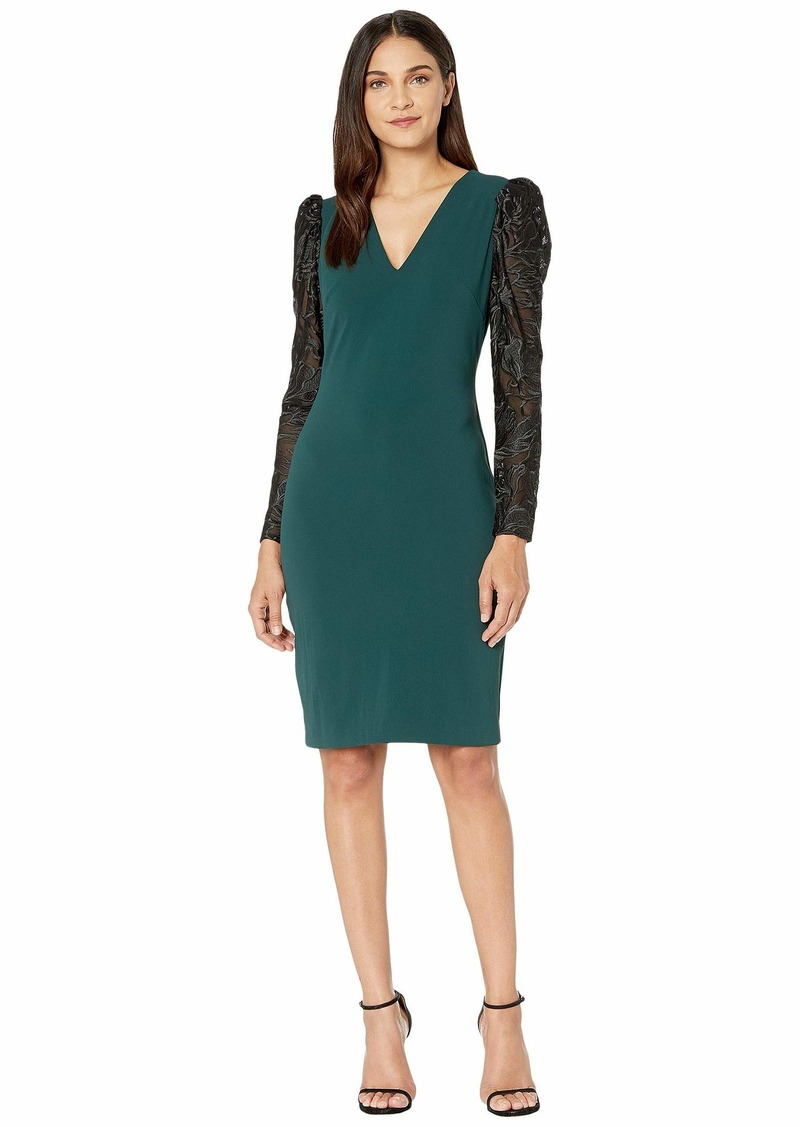 Badgley Mischka V-Neck Balloon Sleeve Cocktail Dress