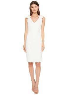 Badgley Mischka V-Neck Butter Crepe Bow Shoulder Dress