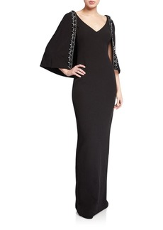 Badgley Mischka V-Neck Cape Gown with Beaded Trim
