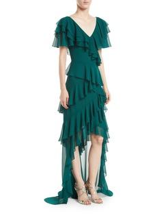 Badgley Mischka V-Neck Draped Ruffle Gown