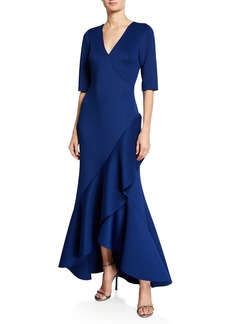 Badgley Mischka V-Neck Elbow-Sleeve High-Low Scuba Gown