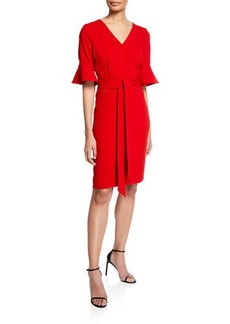 Badgley Mischka V-Neck Flared-Sleeve Tie-Waist Dress