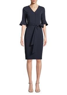 Badgley Mischka V-Neck Flared-Sleeve Tie-Waist Dress