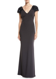 Badgley Mischka V-Neck Gown w/ Beaded Sleeves