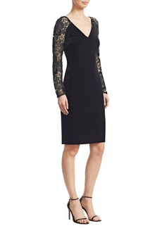Badgley Mischka V-Neck Lace Sleeve Bodycon Dress