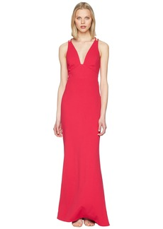 Badgley Mischka V-Neck Lightweight Crepe Gown