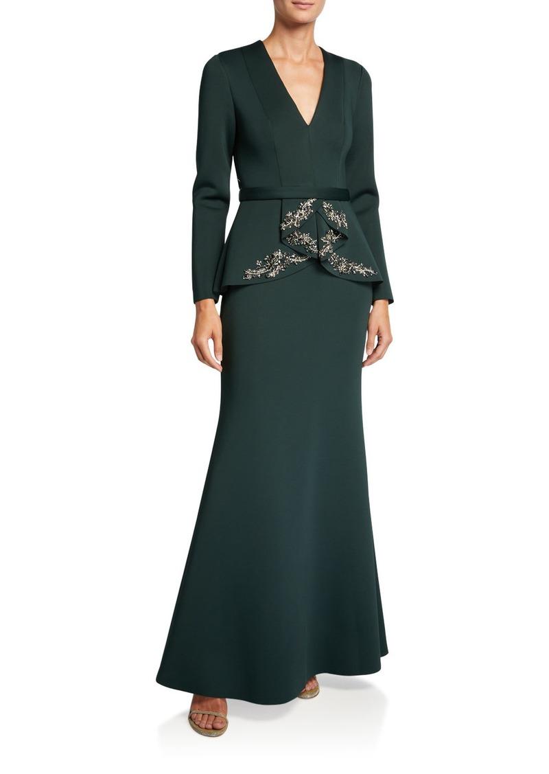 Badgley Mischka V-Neck Long-Sleeve Beaded Peplum Scuba Gown