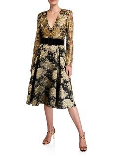 Badgley Mischka V-Neck Long-Sleeve Floral & Lace Belted Cocktail Dress