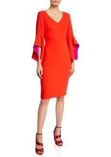 Badgley Mischka V-Neck Two-Tone Sleeve Sheath Dress
