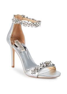 Badgley Mischka Valentine Embellished Leather Ankle-Strap Sandals
