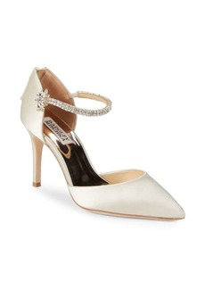 Badgley Mischka Valerie Rhinestone Strap Satin Pumps