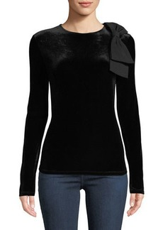 Badgley Mischka Velvet Long-Sleeve Bow Top
