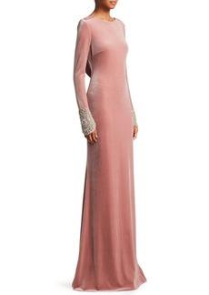 Badgley Mischka Velvet Open Back Gown