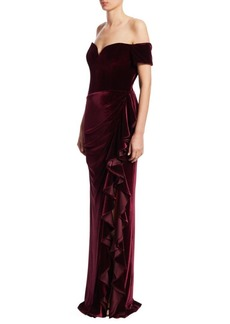 Badgley Mischka Velvet Ruffle Off-The-Shoulder Gown