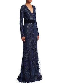 Badgley Mischka Velvet Sequin Gown