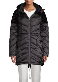 Badgley Mischka Velvet-Trim Quilted Puffer Jacket