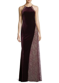 Badgley Mischka Velvet/Lace Sleeveless Halter Column Evening Gown