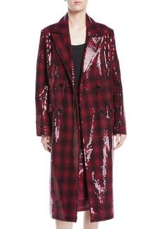 Badgley Mischka Vienna Sequin Coated Plaid Wool Coat