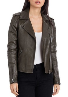Badgley Mischka Washed Leather Biker Jacket
