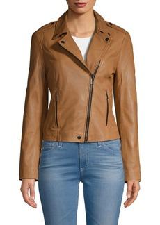 Badgley Mischka Washed Leather Moto Jacket