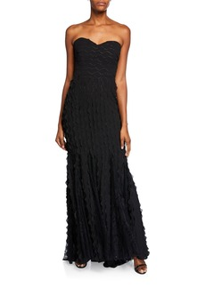 Badgley Mischka Wave Strapless Sweetheart Gown with Lace Insets