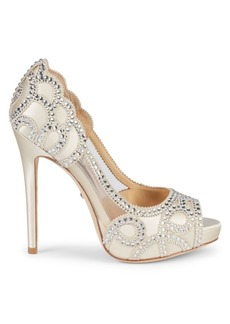 Badgley Mischka Witney Embellished Satin Peep Toe Stiletto Pumps