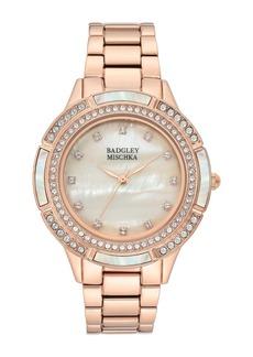Badgley Mischka Women's Crystal Accented Mother of Pearl Bracelet Watch, 36mm