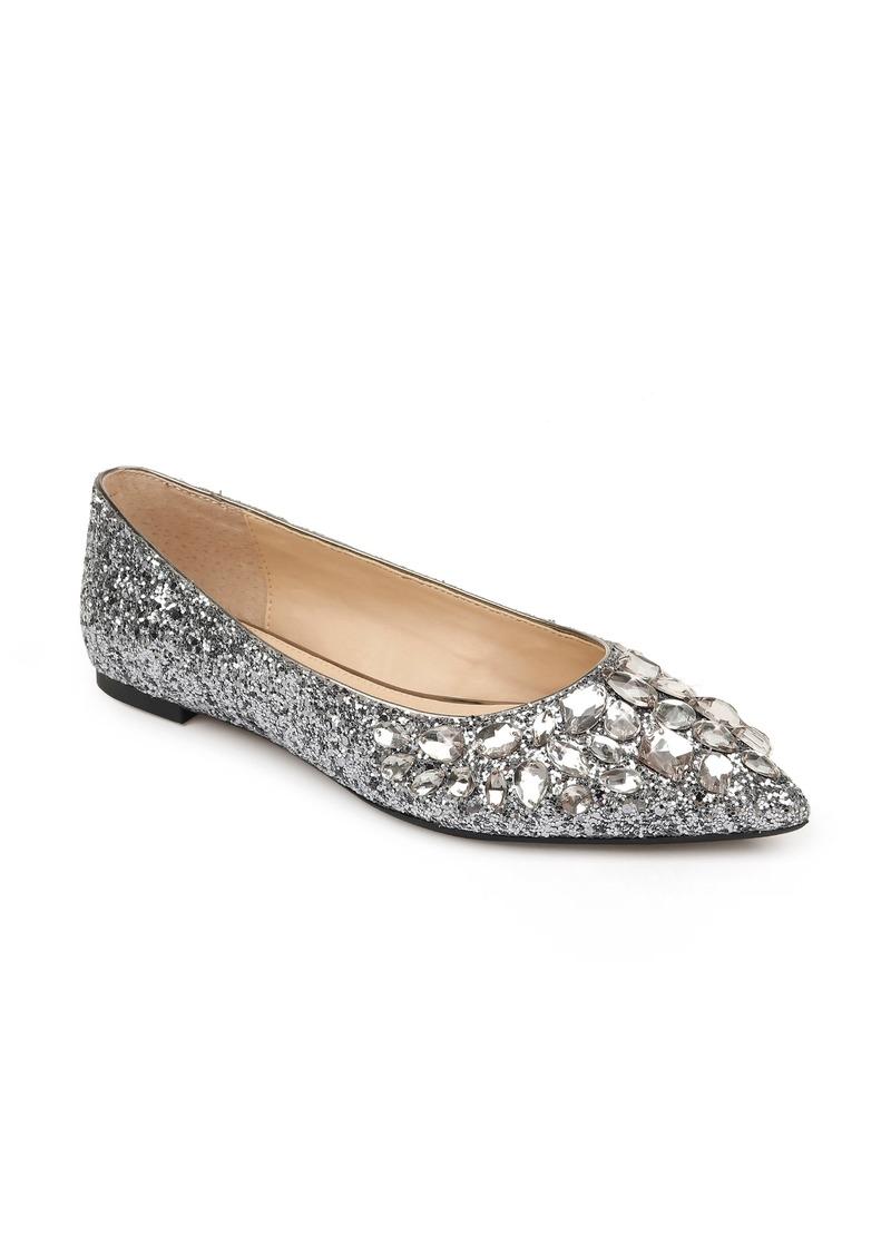 Women's Jewel Badgley Mischka Ulanni Embellished Pointed Toe Glitter Flat