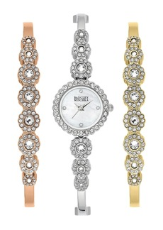 Badgley Mischka Women's Quartz Swarovski Crystal Bangle Bracelet Watch, 20mm
