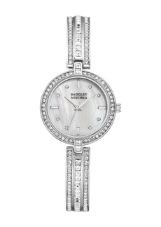 Badgley Mischka Women's Swarovski Crystal Accented Analog Bracelet Watch, 28mm