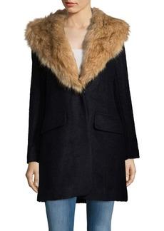 Badgley Mischka Wool-Blend Faux Fur Collar Walker Coat